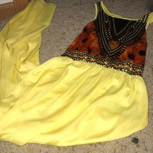 Full length yellow flower dress